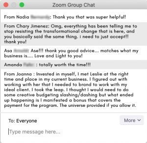 Zoom Chat from Previous Webinars
