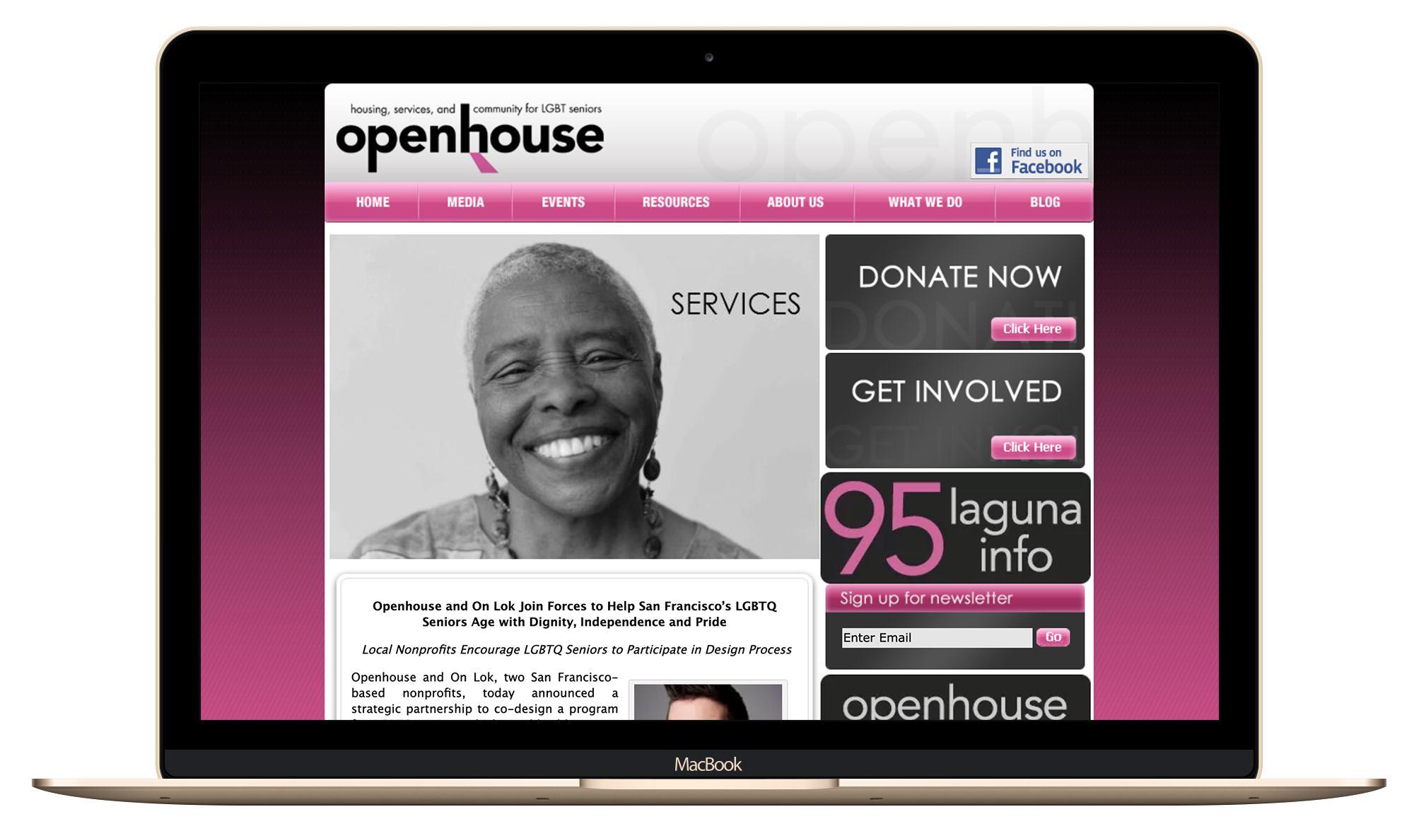 Openhouse-SF Non-Profit Website Before Screenshot